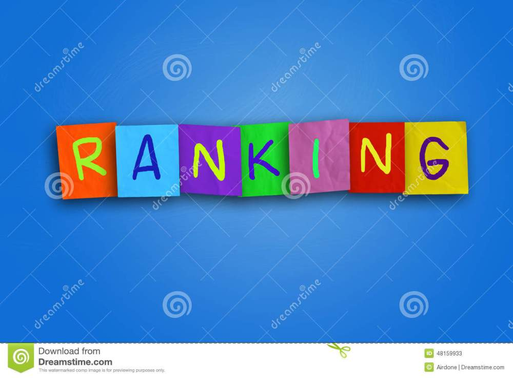 ranking-word-written-sticky-colored-paper-over-blue-background-48159933